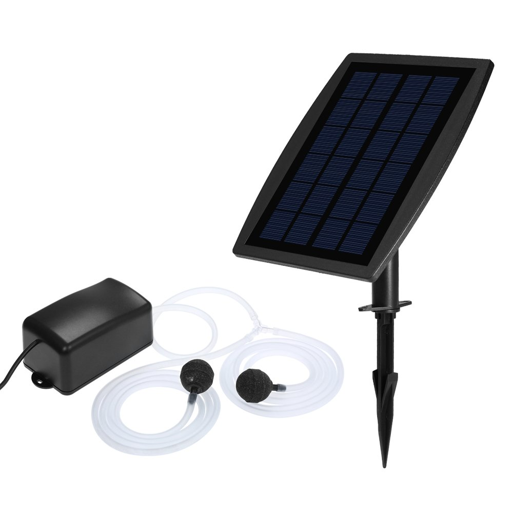 Decdeal Solar Fountain Oxygen Pump with Aquarium Oxygen Pipe Air Bubble Stone