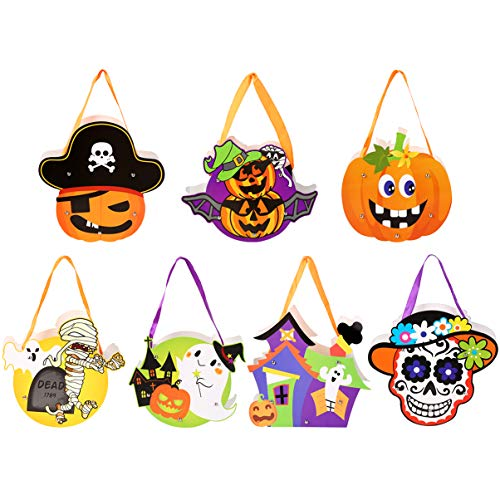 VBG VBIGER Halloween Candy Bags Kids DIY Paper Tote Bags Halloween Party Decoration - Reusable Grocery Candy Goodie Bags Party Favor Bags (7 Pack)