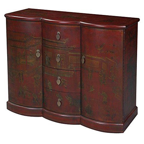 EXP Handmade Oriental Furniture 41-inch Antique Style Bow-Front Buffet Traditional Heirloom, Red