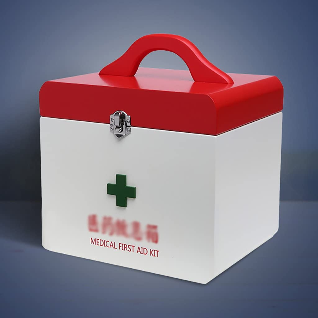 YLLYPX Caja de medicinas Hogar Botiquín de Madera Broche de Metal Botiquín Botiquín Caja de Examen médico Caja de medicinas de Emergencia Caja de Almacenamiento de Drogas: Amazon.es: Hogar