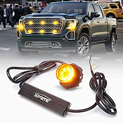 Xprite Amber Yellow LED Hideaway Strobe Lights Emergency Hazard Warning Light Bulb Kit for Police Vehicles Trucks Cars - 1PC: Automotive