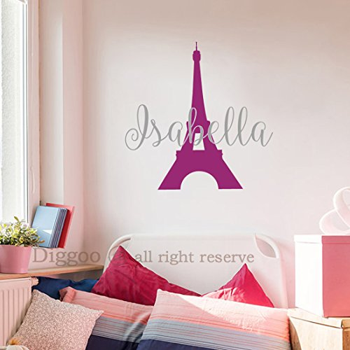 (Paris Eiffel Tower Vinyl Wall Decal for Girls - Personalized Girl Name Wall Sticker - Girls Room Decor (30