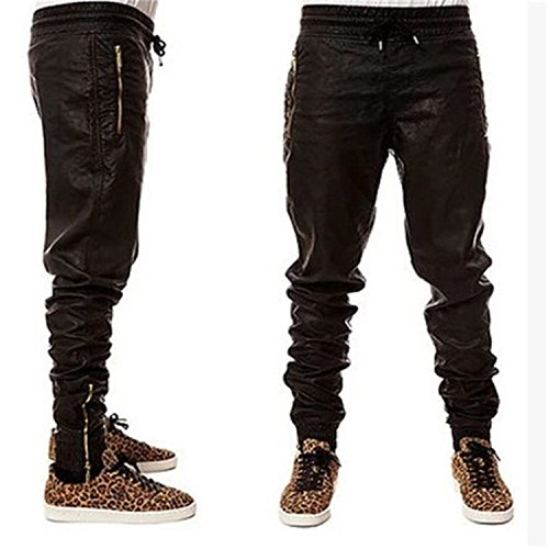 OnIn Fashion Zippers jogers Pant Men Black Joggers Dance Urban Clothing Mens Faux Leather Pants