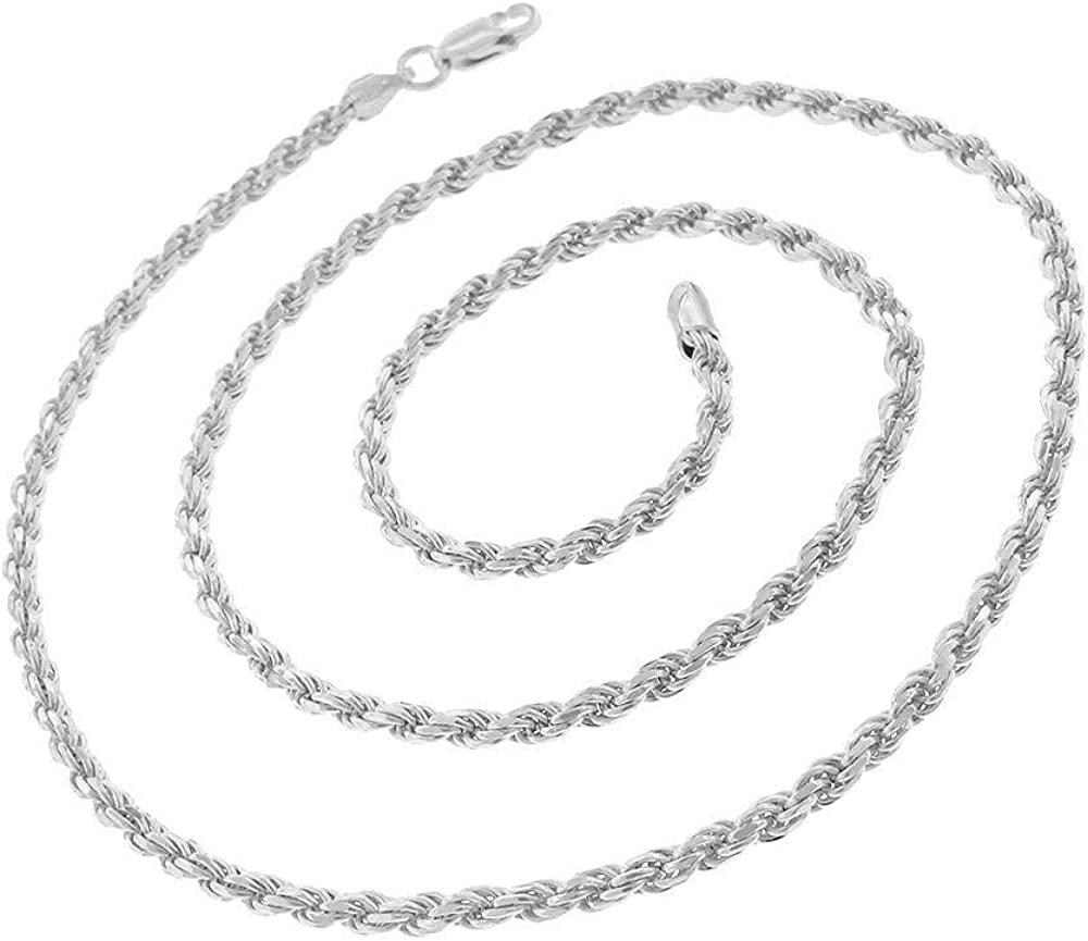 Made In Italy 5.5MM Authentic Solid Sterling Silver Rope Diamond-Cut Braided Twist Link .925 ITProLux Necklace Chains 1.5MM Men /& Women 16-30 Next Level Jewelry
