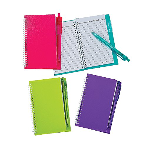 (Fun Express - Neon Spiral Notebook and Pen Set - Stationery - Notepads - Notepads - 12 Pieces)