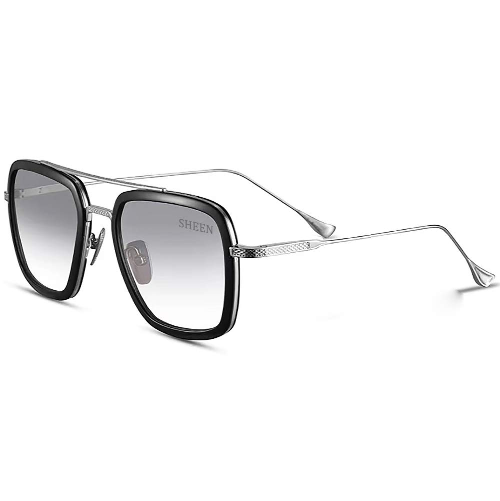 Retro Aviator Sunglasses Square Metal Frame for Men Women Sunglasses Classic Downey Iron Man Tony Stark Grey Frame Blue Lens