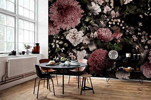 Murwall Dark Floral Wallpaper Florals Wall Mural Pink Chrysanthemum Green Leaf Wall Print Livingroom Kitchen Entryway