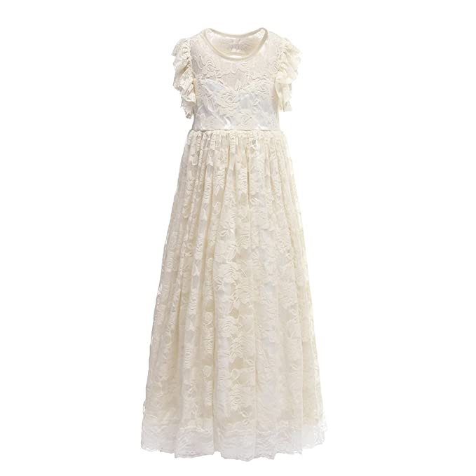 51098e47abb Amazon.com  Everweekend Flower Girls Maxi Lace Party Dress with Back Hollow  and Bow  Clothing