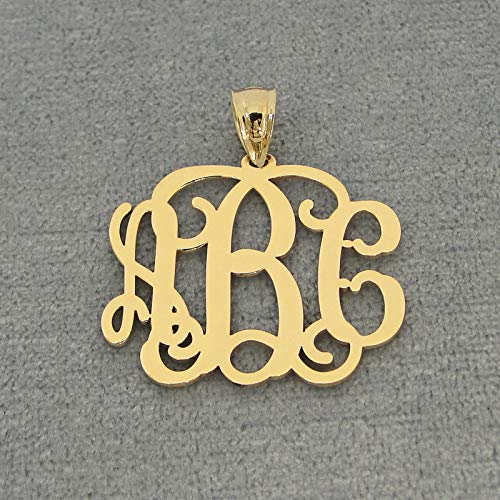 3 Initials Monogram Pendant 1 Inch Solid Gold 10K or 14K Personalized Monogrammed Gift GM31 ()