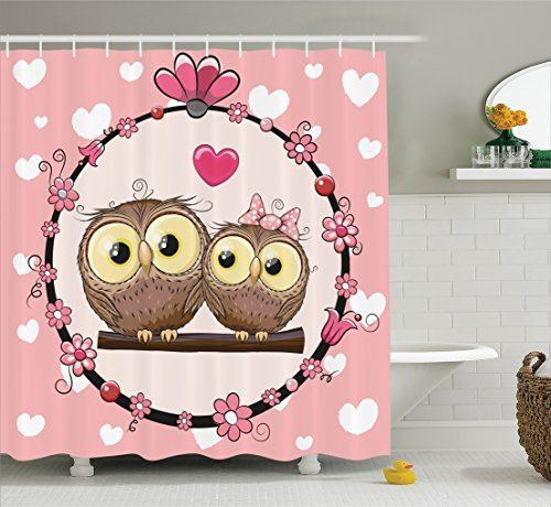 Ambesonne Owls Home Decor Shower Curtain Set, Love Valentine's Owl Couple on Tree Branch Floral Wreath Celebrations Art, Bathroom Accessories, 84 Inches Extralong, - Sc Sports Wreath