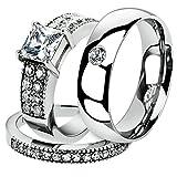 His & Her 3 Pc Stainless Steel 2.07 Ct Cz Bridal Set & Men Zirconia Wedding Band Women's Women's Size 05 Men's Size 13