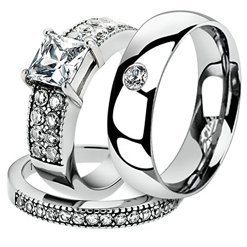 His & Her 3 Pc Stainless Steel 2.07 Ct Cz Bridal Set & Men Zirconia Wedding Band Women's Women's Size 05 Men's Size 13