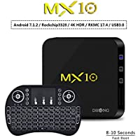 DHong MX10 Android TV Box + Mini Fly Mouse Backlight Keyboard, Android 7.1 4GB/32GB Streaming Media Player