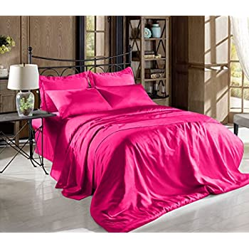 Amazon Com Home Fashion Hot Pink Full Size Silky Satin