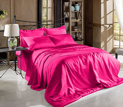 Hight Thread Count Solid Color Soft Silky Charmeuse Satin Luxury and Super Soft Bed Sheet Set (Hot Pink, Full)