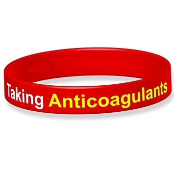moitié prix dernière collection personnalisé The ID Band Company Taking Anticoagulants Medical Alert Silicone Wristband,  Medium, Red, 1 Units