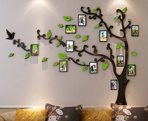 Spring Country 3D Growing Family Tree Wall Stickers with Photo Frames | Acrylic Room Decal | Family Wall Decor Home Improvement Memory with Children | Nursery Room Wall Stickers | 60 inch 34 inch ()