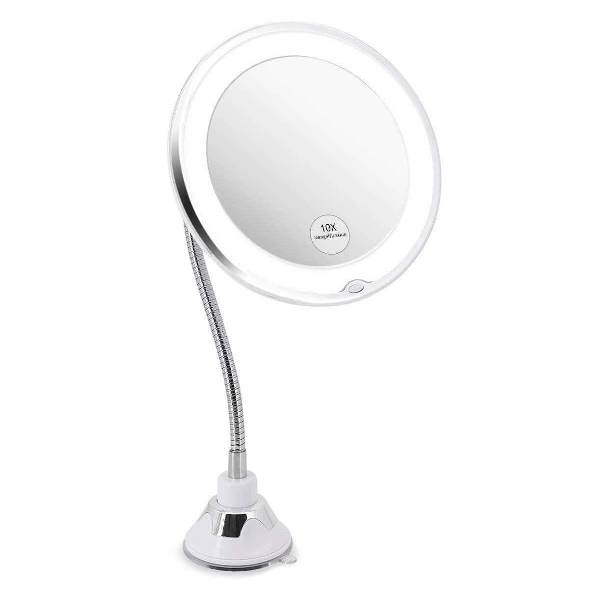 Glam Hobby Led 10X Magnifying Makeup Mirror Lighted Vanity Bathroom Square Mirror with 360 Degree Swivel Rotation, Flexible Gooseneck, and Locking Suction