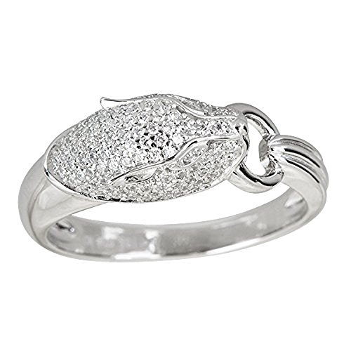 (Decadence Sterling Silver Pave Panther Cubic Zirconia Ring )