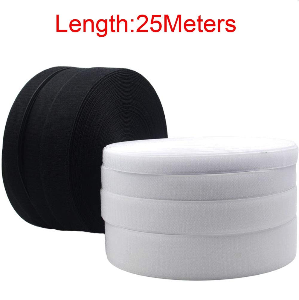 Anncus 25Meters Black White Hook & Loop Tape/Roll - Sew On (Not Adhesive) Both Sides Included - (Color: White 40mmx25meters) by Anncus