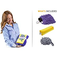 RouteGurus [3 piece] MicroCareful Home Wash Mitt Bundle with 4 Bonuses, Professional Microfiber Lint-Free Scrath-Free Cleaning Kit for Home, RV's & Caravan