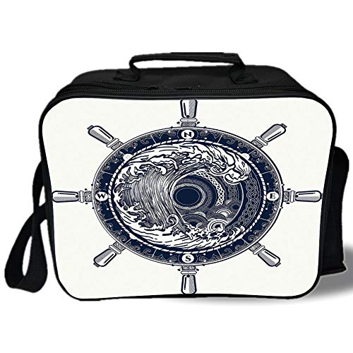 Insulated Lunch Bag,Adventure,Sea Compass and Storm Tattoo Design in Celtic Style Tsunami Waves and Wheel Decorative,Dark Blue White,for Work/School/Picnic, Grey ()