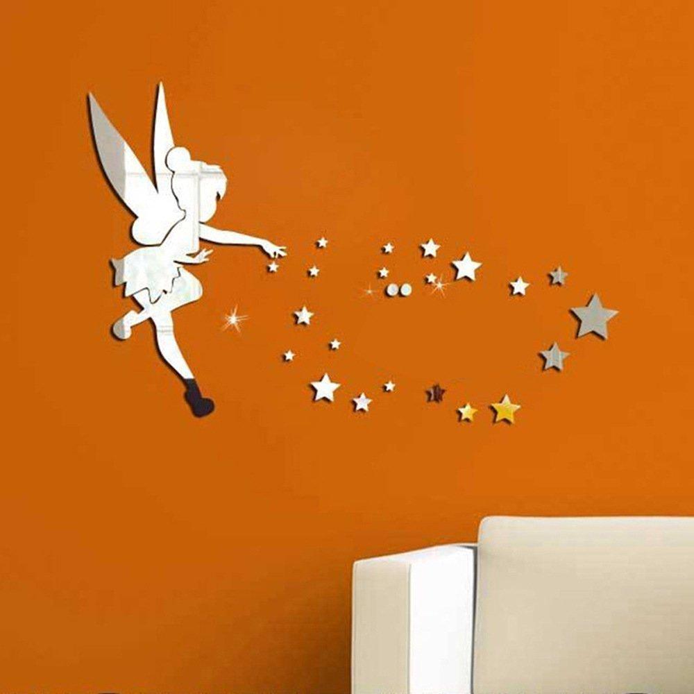 26/pcs//Ensemble de f/ée clochette Miroir mural Acrylique Miroir d/écoratif F/ée Clochette Stickers muraux D/écoration de la Maison