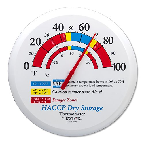 Taylor Precision Products 5681 Prep and Dry Storage Wall Thermometer with Mounting Bracket, 12