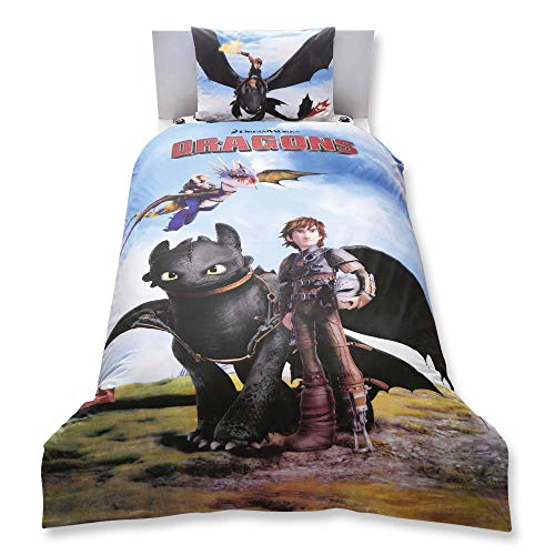 (How To Train Your Dragon 3 Pcs Twin / Single Size %100 Cotton Duvet Cover Set Bedding Linens (Comforter sold separately, not in this set))