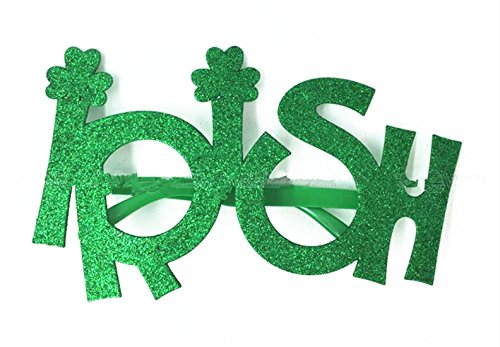 Winzik St. Patrick's Day Decorative Glasses Whimsy Glasses Shamrock Irish Clover Sunglasses Party Gifts,Green