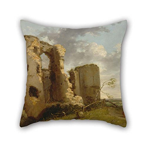 (The Oil Painting John Hamilton Mortimer - West Gate Of Pevensey Castle, Sussex Pillowcover Of 16 X 16 Inches / 40 By 40 Cm Decoration Gift For Girls Club Dinning Room Husband Valentine Sofa (each)