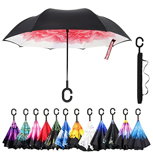 Lotus Umbrella - Amagoing Car Inverted Umbrella Double Layer Windproof Reverse Umbrella for Rain Sun (Red Lotus)