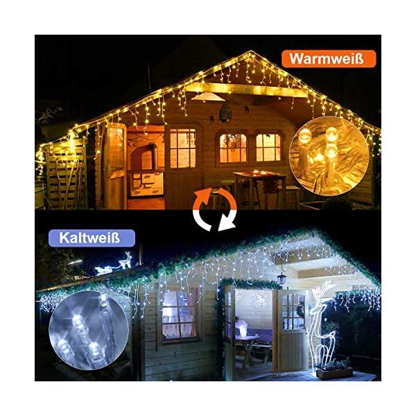 Cascata di Luci ECOWHO 440 LED Tenda Luminosa Bianco Caldo e Bianco Freddo,12x0,8m Luci di Natale 9 Modalità con telecomando, Catena Luminosa esterno per Natale patio Giardino Matrimonio 2 spesavip