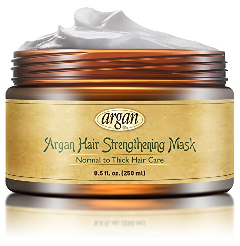 Hair Strengthening Deep Conditioner Mask - Thick Coarse Hair Care - Moroccan Argan Masque 8.5 oz for Thinning Brittle Hair Restoration with Long Lasting (Hair Loss Control Cream)