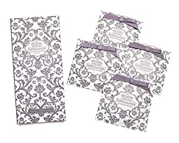 English Lavender Scented Sachets - Set of 4 Large Gift Boxed Sachets for Drawers and Closets - Royal Damask