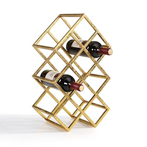 gold bar cart with wine rack - 6
