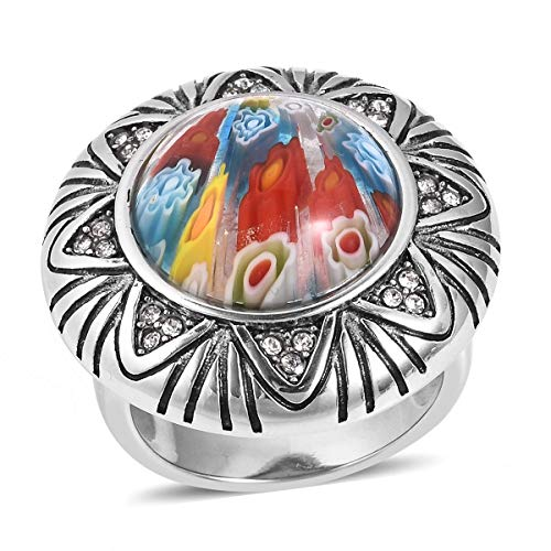 (Shop LC Delivering Joy Multi Color Murano Millefiori Glass Cocktail Ring Stainless Steel Round Glass Jewelry for Women Size 6)