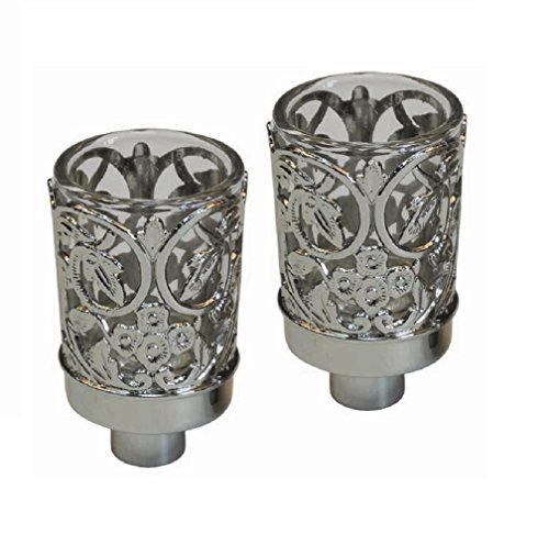 Ultimate Judaica Neronim Set of 2 Candle Holders Nickel Plated 3