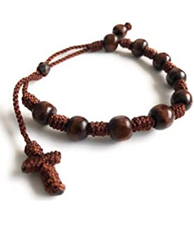 Handmade brown knotted cord rosary beads bracelet rope