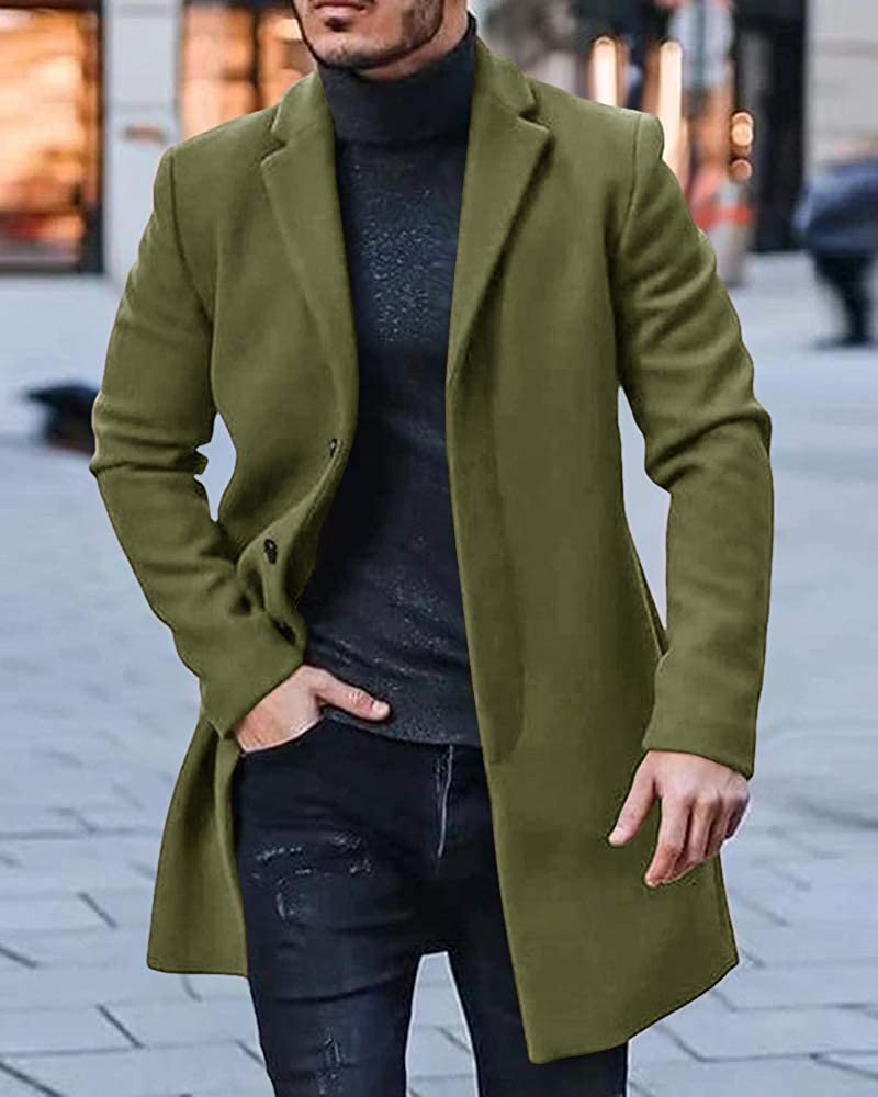 PASLTER Mens Cotton Business Trench Topcoats Winter Heavyweight Warm Single Breasted Coats