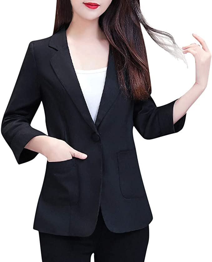 Yezijin Women Plus Size Three Quarter Sleeve Pockets Jacket Ladies Office Wear Coat 2019 New