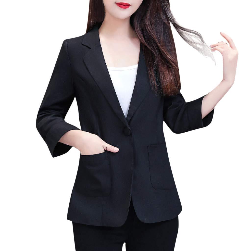 Fashionhe Women Jacket Plus Size Three Quarter Sleeve Coat Pockets Office Wear Outwear Top(Black.L)