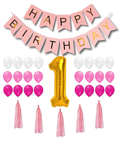 1st Birthday Decorations for Girls - Pink, Magenta and White Happy Birthday Balloons / Pink Happy Birthday Banner / Golden Foil Balloon
