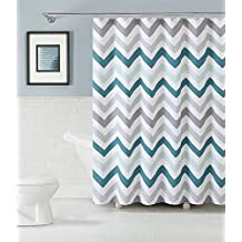 Fabric Shower Curtain: Chevron Design (Aqua Gray And White) Shower Rings Included