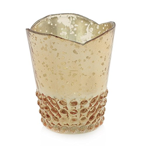 Mercury Glass Candle Holder, Hobnail, Scalloped, 3.5in, Rose Gold, 6Pk (Hobnail Small Vase)