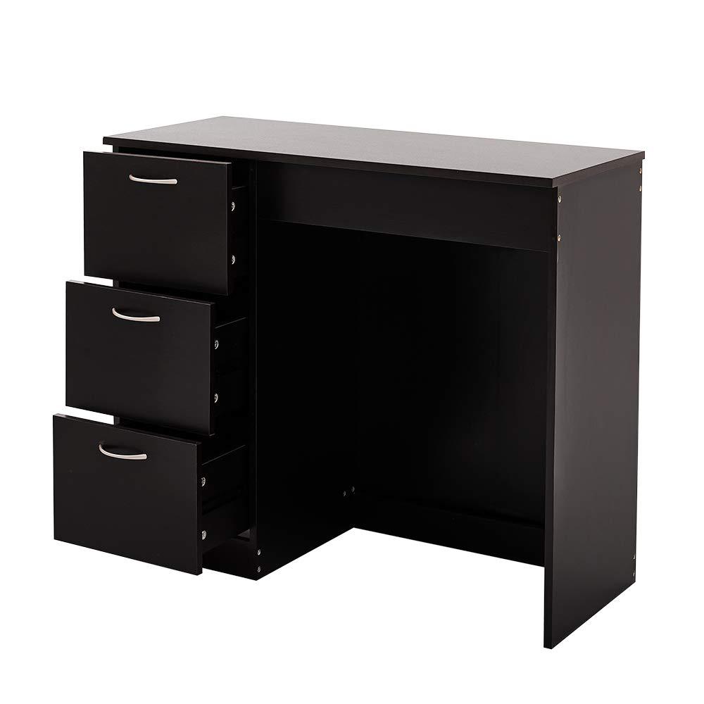 Boutiqhome Corona 3 Drawer Dressing Table Writing Table Computer Desk Black