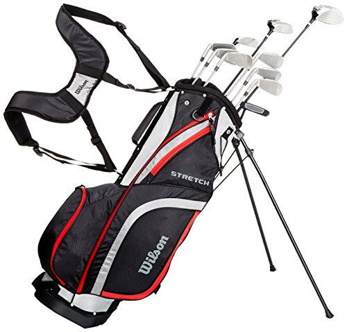 Wilson Men's Stretch Right Hand, Beginner Complete Set, 10 golf clubs with stand bag, Multicolour, Standard Length
