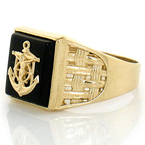 Gold Mens Onyx Cross Ring - 8