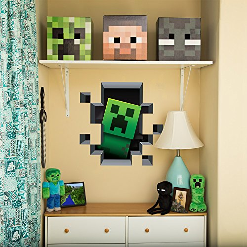 Minecraft wall cling decal set creeper enderman pig - Minecraft kinderzimmer ...