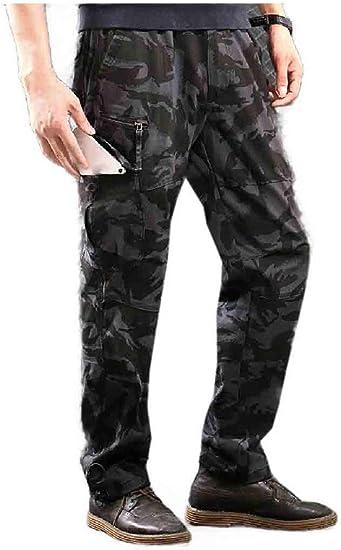 Beeatree メンズ アウトドア ストレート カジュアル マルチ ポケット ロング パンツ ズボン